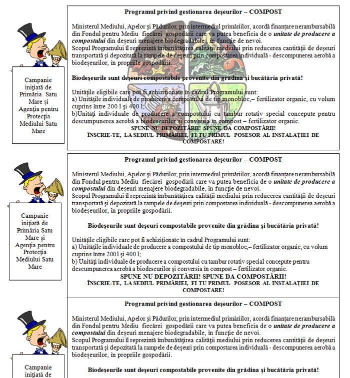 """Campanie de informare pentru implementarea Programului """"Compost"""""""