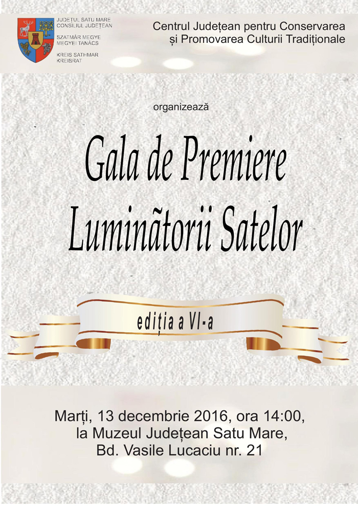 """Gala de premiere """"Luminătorii satelor"""", la Muzeul Județean. Când va avea loc"""