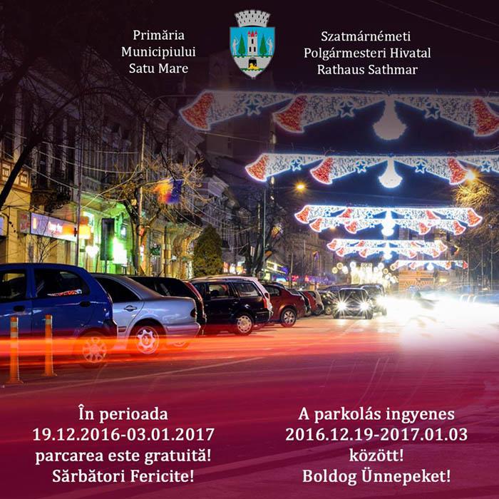 Parcări gratuite de sărbători la Satu Mare
