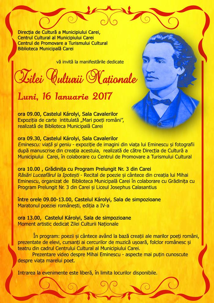 """Programul evenimentelor dedicate """"Zilei Culturii Naționale"""" la Carei"""