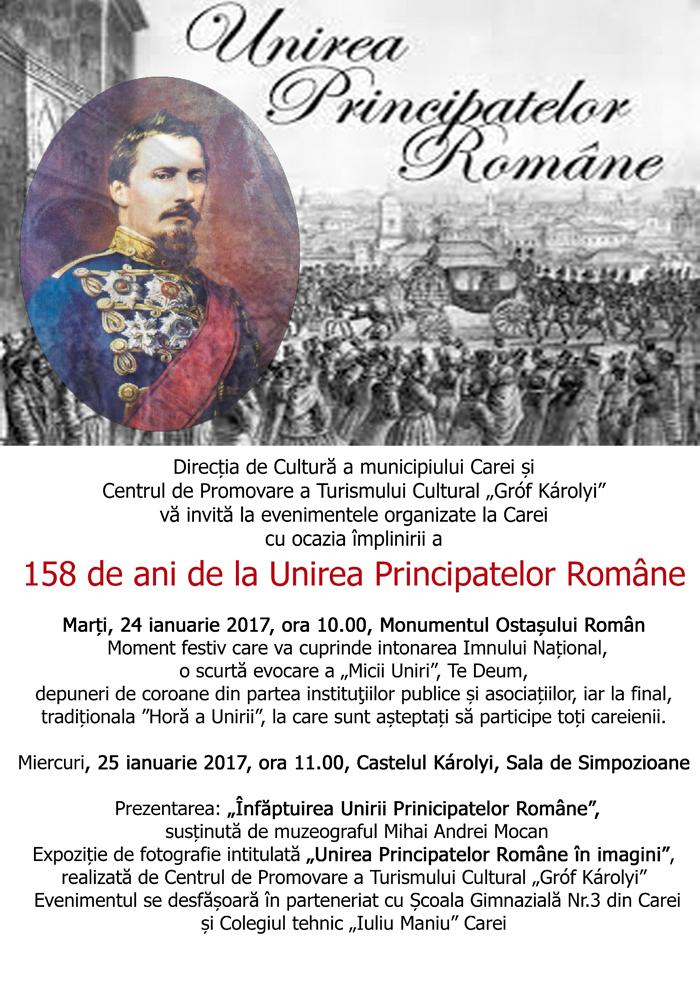 Manifestări dedicate Unirii Principatelor Române, organizate la Carei. Vezi programul