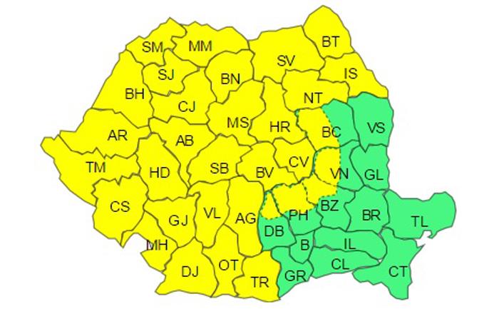 Cod galben de polei și viscol în județul Satu Mare