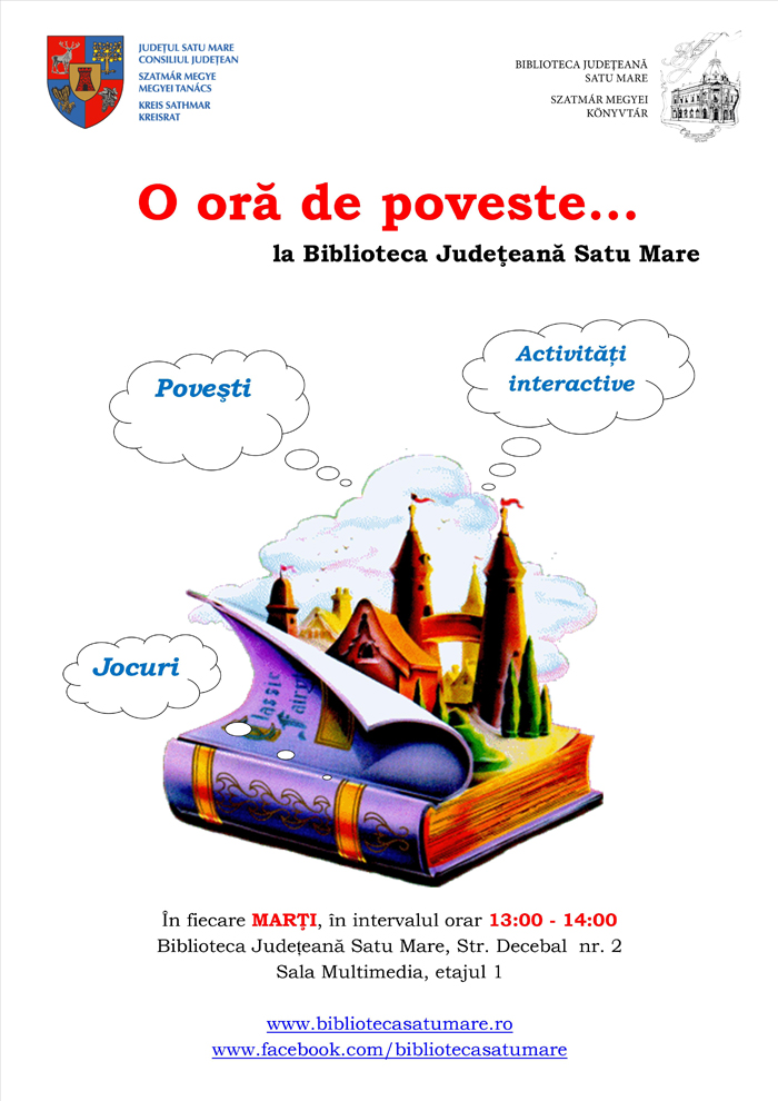 """""""O oră de poveste …"""" la Biblioteca Județeană Satu Mare"""