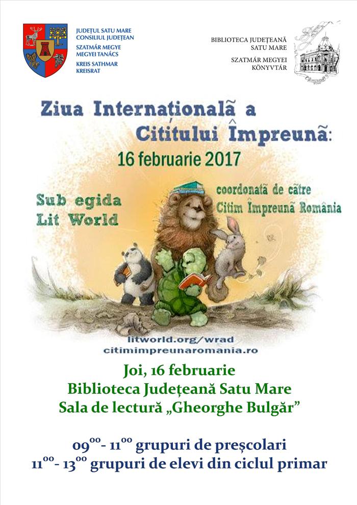 """""""Ziua Internațională a Cititului Împreună"""" la Biblioteca Județeană Satu Mare"""