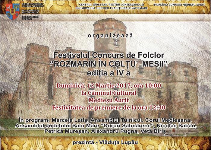 """Festivalul concurs de folclor """"Rozmarin în colţu' mesii"""", la a IV-a ediție"""
