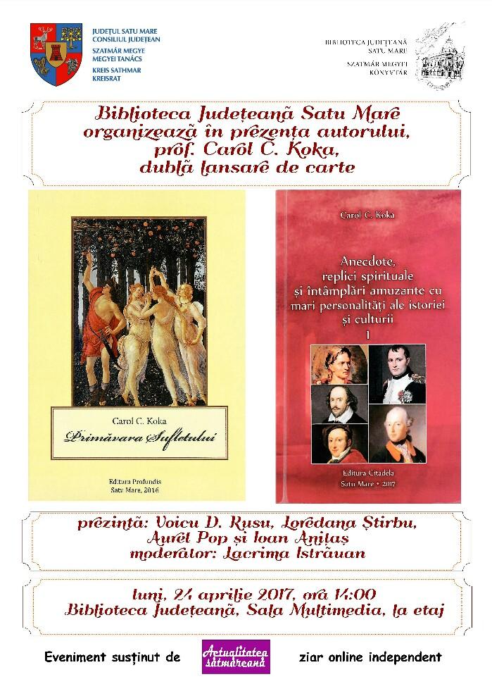 Dublă lansare de carte la Biblioteca Județeană Satu Mare
