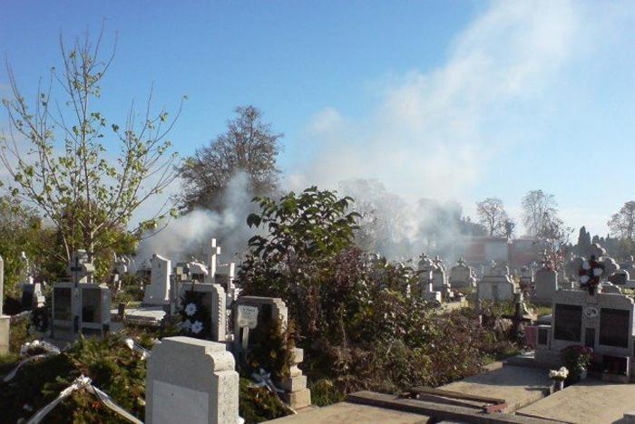 Incendiu într-un cimitir din Satu Mare. Ce s-a întâmplat