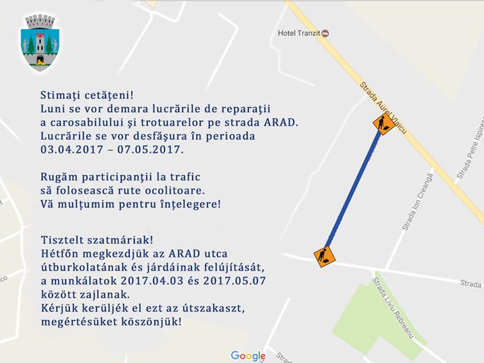 Încep lucrările pe strada Arad