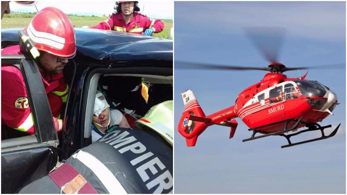 Tânăra încarcerată în urma accidentului din Odoreu, preluată de un elicopter SMURD