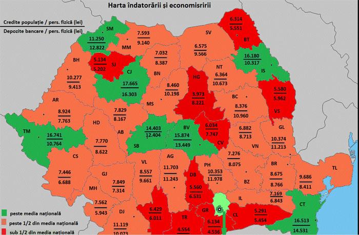 Harta econimisirii și creditării pe județe. Ce loc ocupă Satu Mare