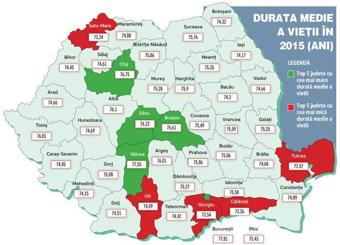 Vezi harta speranței de viață în România. Satu Mare, în coada clasamentului