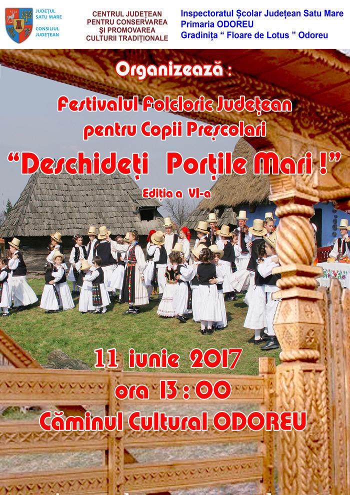 """Festivalul folcloric pentru copii preșcolari """"Deschideți porțile mari"""", ediția a VI-a"""