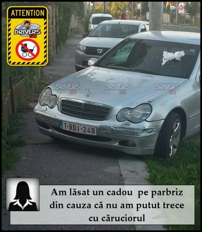 O mămică se răzbună ! Cadou surpriză lăsat pe parbrizul unei mașini (foto)