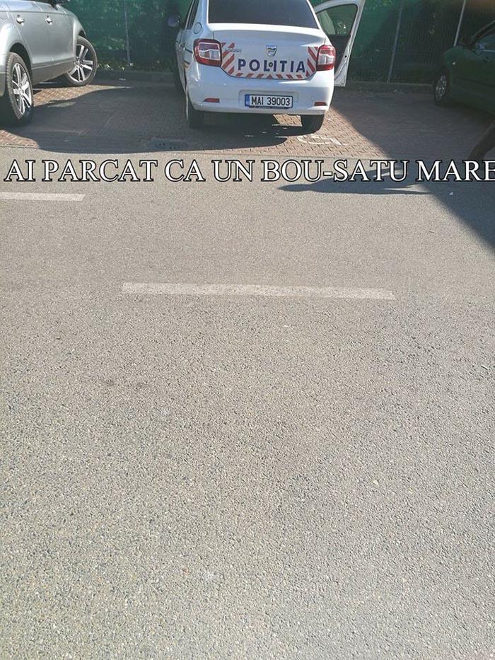 """Mașină a Poliției, """"vedetă"""" pe Facebook. Unde și-a parcat mașina omul legii (Foto)"""