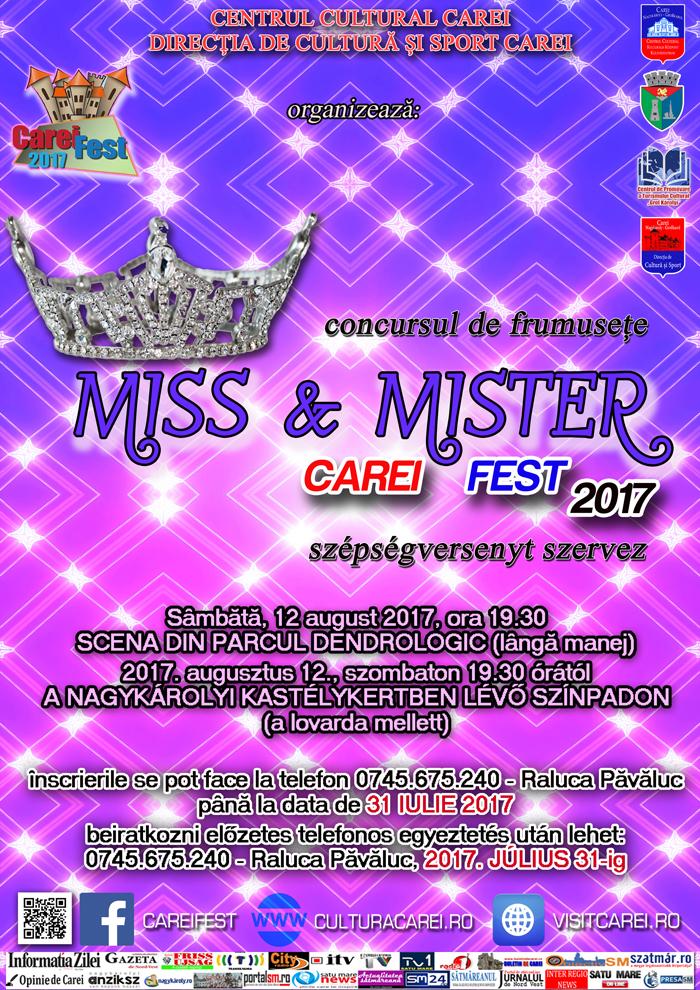"""Se fac înscrieri la """"Miss & Mister Carei"""" 2017"""