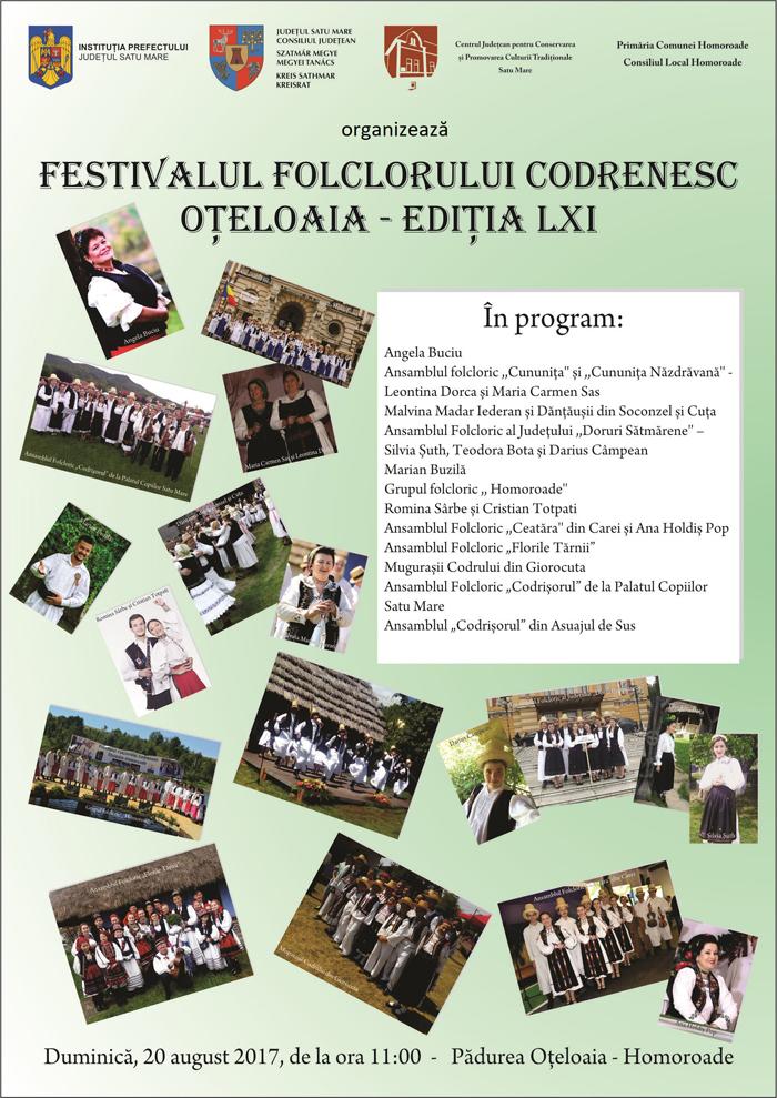 """Festivalul Folclorului Codrenesc """"Oțeloaia"""", ediția LXI. Vezi programul"""