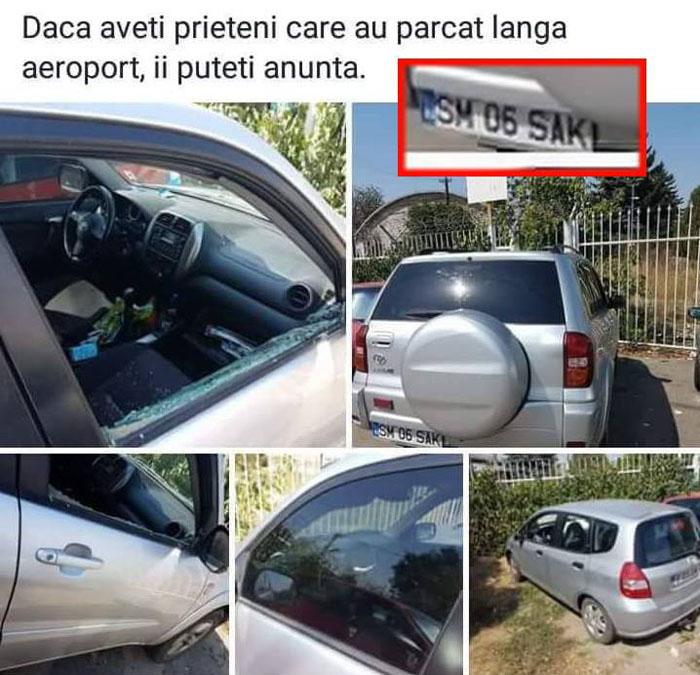 Mașina unui sătmărean, vandalizată lângă Aeroportul din Cluj (Foto)