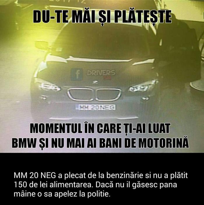 Șoferul unui BMW, căutat pe Facebook. A plecat din benzinărie fără să plătească (Foto)