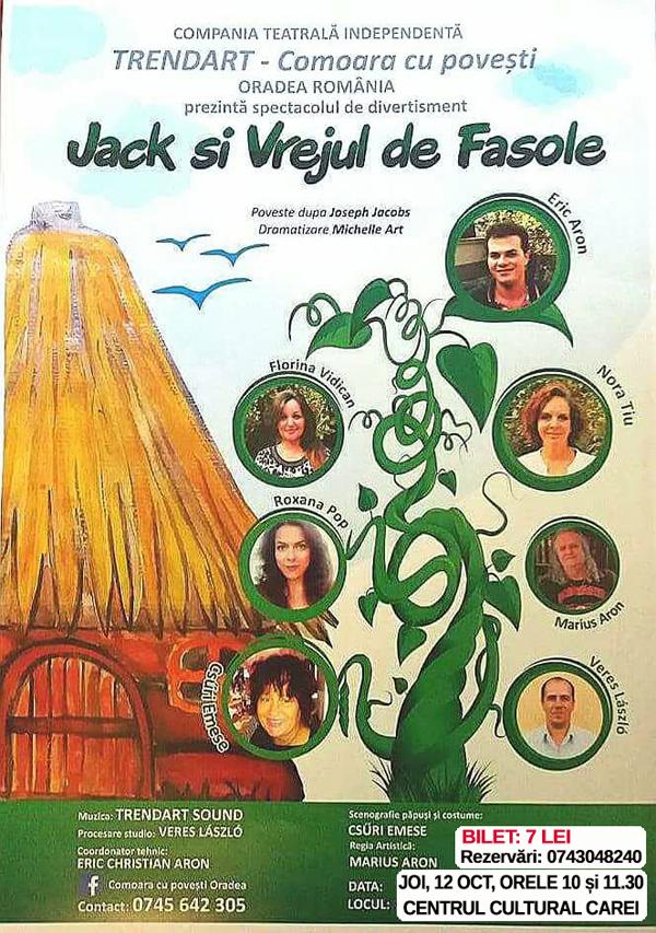 """Spectacolul """"Jack și vrejul de fasole"""" la Centrul Cultural Carei"""
