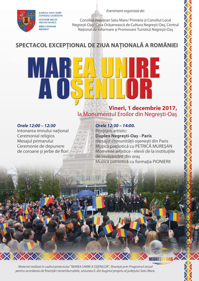 Marea Unire a Oșenilor. Duplex Negrești Oaș – Paris de Ziua Națională a României