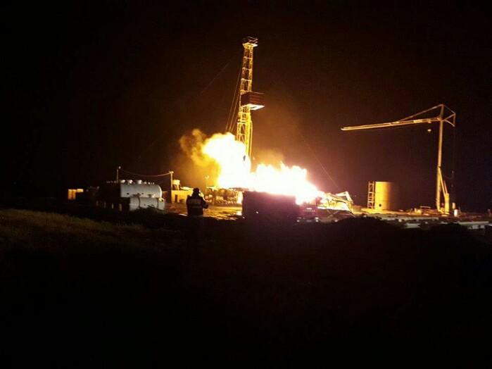 Incendiu la o sondă de gaz. Imagini de la locul intervenției (video)