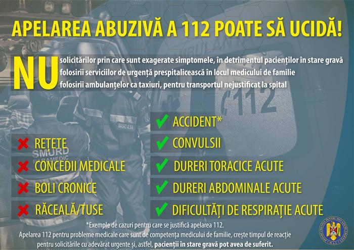 Campanie de conștientizare: NU folosiți ambulanțele ca taxiuri !