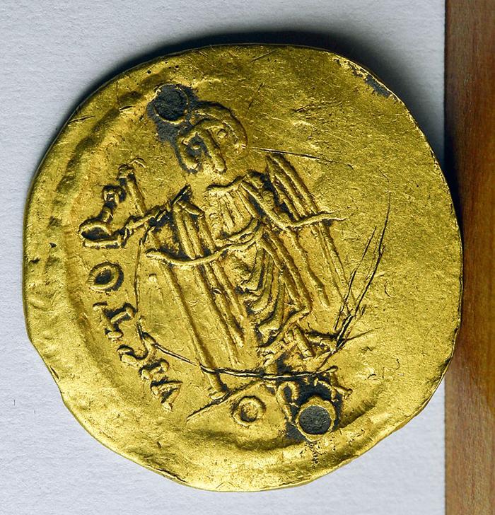 Monedă bizantină, descoperită la Dindești (Foto)