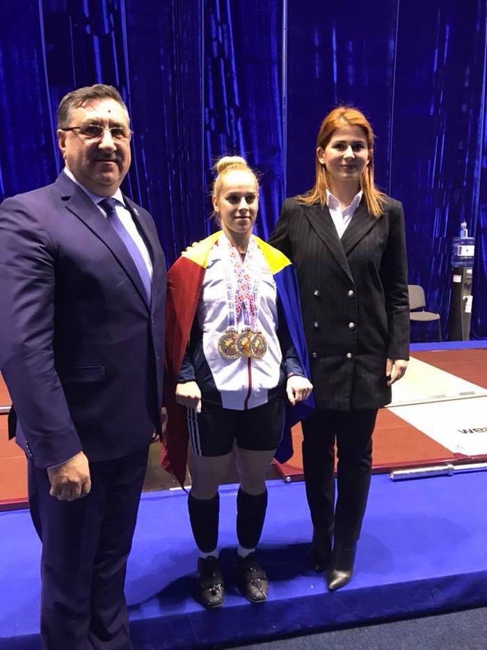 Avem aur european la haltere ! Campioana, premiată de ministrul Ioana Bran (Foto)