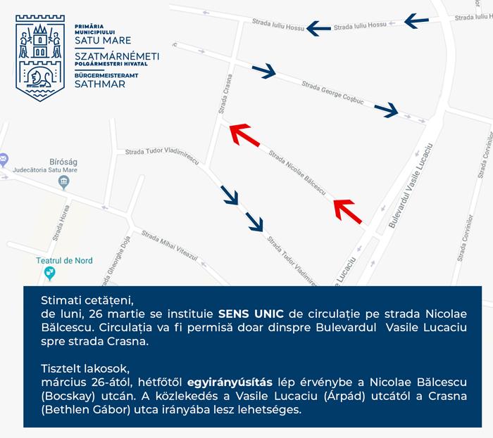 Încă o stradă cu sens unic în municipiul Satu Mare