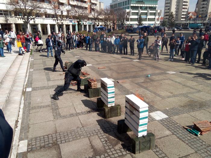 Exerciții demonstrative în Centrul Nou. Jandarmii i-au uimit pe sătmăreni (Fotogalerie)