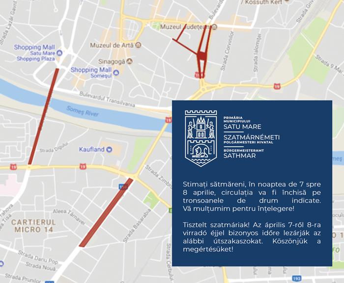 Circulație închisă pe mai multe străzi în Noaptea de Înviere