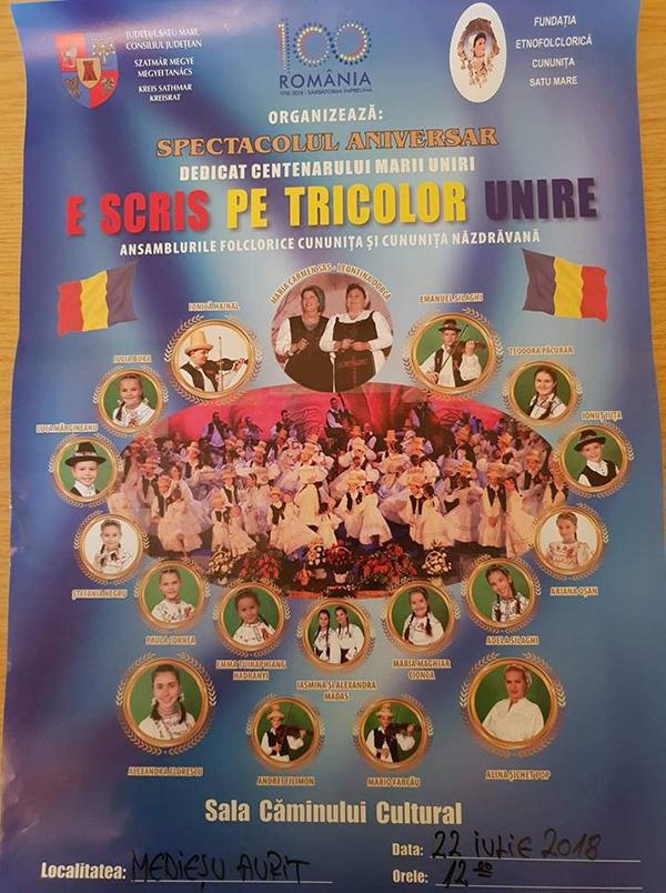 Spectacol dedicat Centenarului Marii Uniri