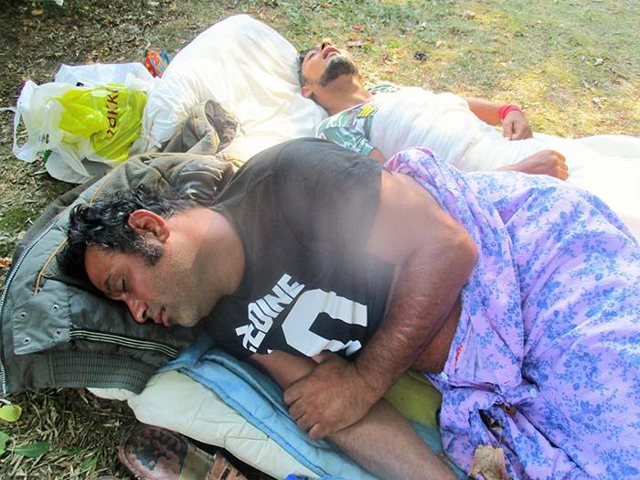 Au dormit in parcul din fata Spitalului Judetean. Politia Locala a intervenit (Foto)