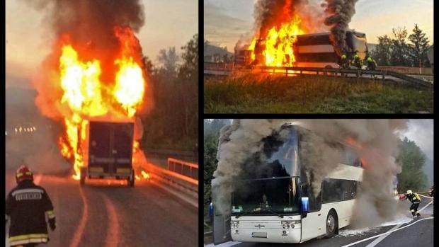 Panica ! Un autocar din Romania a explodat pe o autostrada din Austria (Foto)