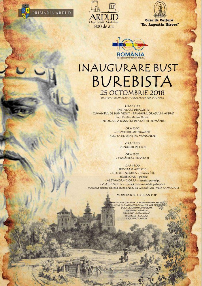 """Bustul lui Burebista, dezvelit, de """"Ziua Armatei Romane"""""""