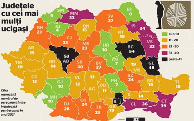 Harta crimelor din Romania. Cum sta judetul Satu Mare