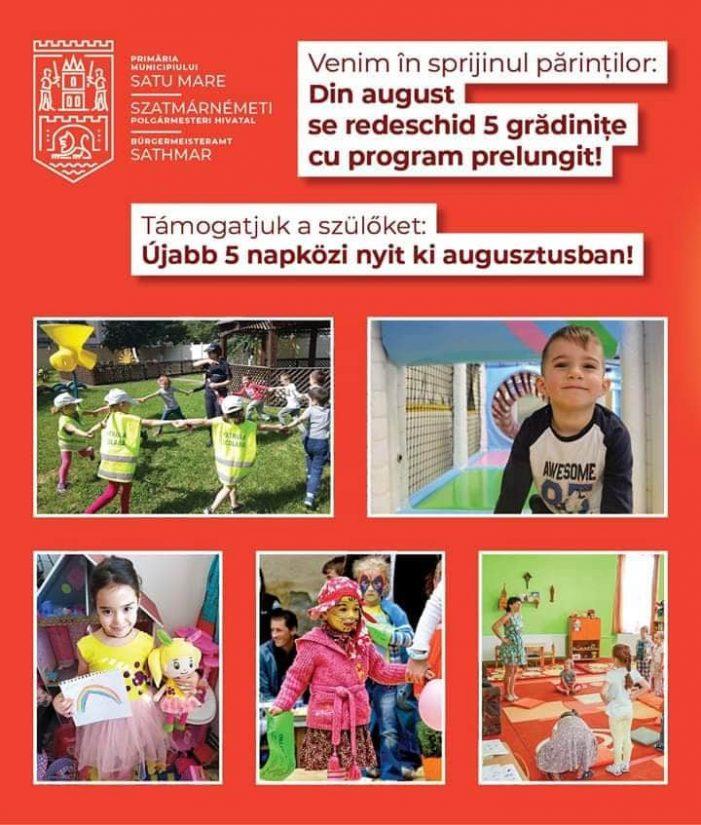 Se redeschid cinci grădinițe în municipiul Satu Mare