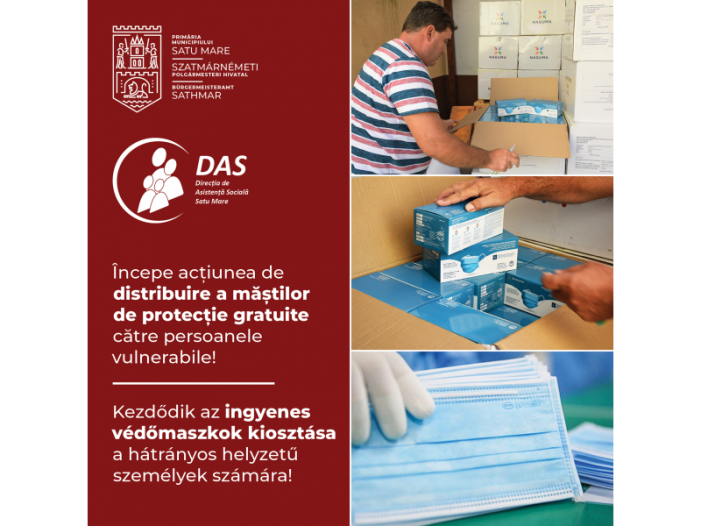 Începe distribuirea mastilor gratuite în municipiul Satu Mare