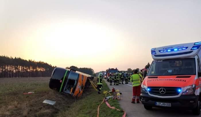 Autocar cu români, răsturnat în Germania. 31 de victime (Foto)