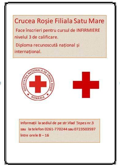 Curs de infirmiere la Crucea Roșie Satu Mare