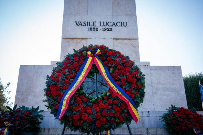 Eveniment restrans, de Ziua Naționala, la statuia lui Vasile Lucaciu