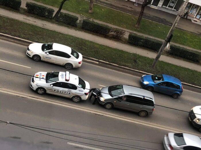 A lovit mașina Poliției … azi pe Careiului (Foto)