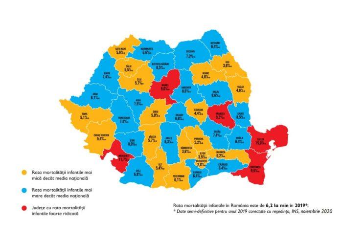 Harta pe județe a mortalității infantile. Judetul Satu Mare, sub media naționala