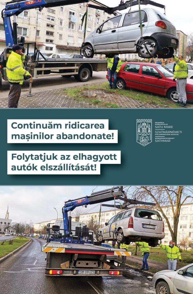 13 mașini abandonate, ridicate la Satu Mare