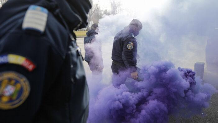 Protest cu fumigene și scandal la Cotroceni. Polițiștii s-au îmbrâncit cu jandarmii