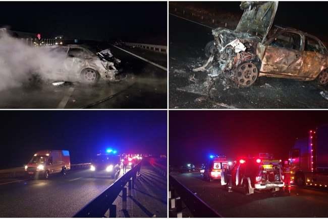 Accident teribil ! Doi morți și cinci răniți ! O mașina a luat foc ! (Foto)