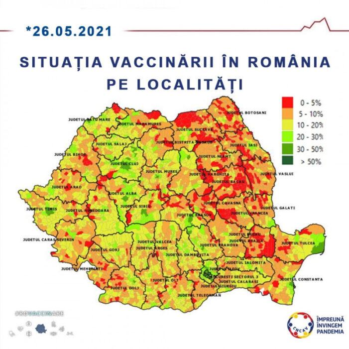 Harta localitatilor in functie de procentul la vaccinare
