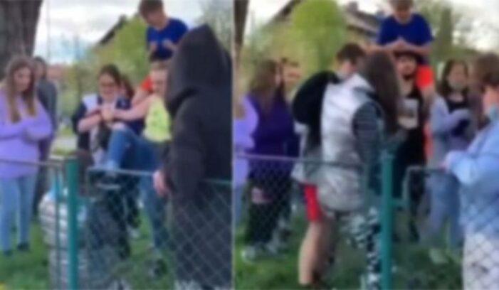Adolescenta, bătută şi umilită de colege într-un parc (Foto)