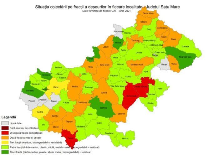 Situatia colectarii separate a deseurilor in judetul Satu Mare (Harta)