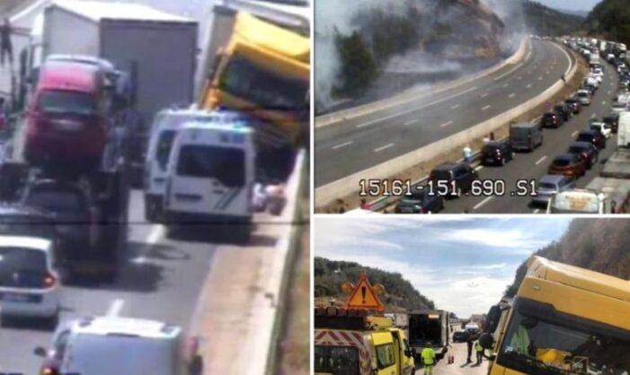 Un şofer român de TIR a provocat prăpăd pe o şosea din Franța: Un mort și 9 răniți (Foto)